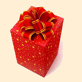 A rendering of a red and gold Christmas gift.