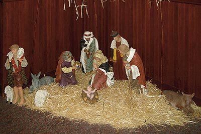 A photographic image of a Nativity Scene taken on New Years Day, 2007, at the former Country Kitchen Restaurant.