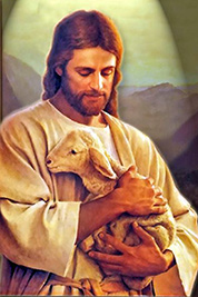 A painting of Jesus Christ holding a lamb.