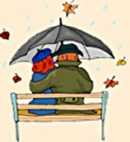 An image of a couple in the rain.